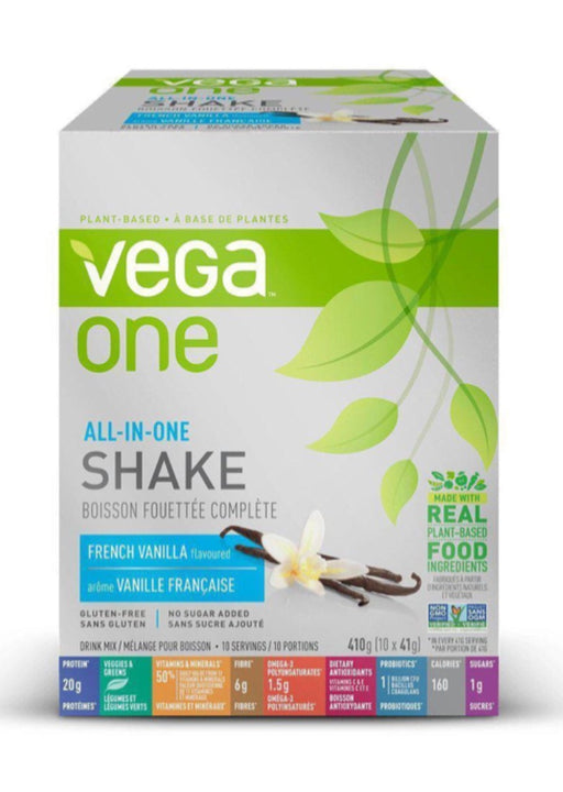 Vega One All In One Shake French Vanilla Box of 10 Single Packs (10 servings)
