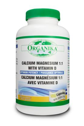 Organika Calcium Magnesium 1:1 with Vitamin D 180 caps