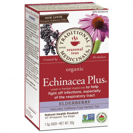 Traditional Medicinal Organic Echinacea Plus Elderberry Tea 20 Bags