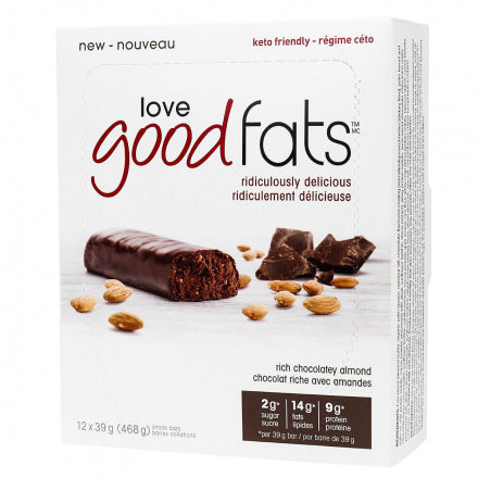 Love Good Fats Rich Chocolatey Almond Keto Bars 12 Bars (Expiry 14 Oct, 2020)