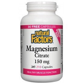 Natural Factors Magnesium Citrate 150mg 210 Capsules (30 Bonus caps)