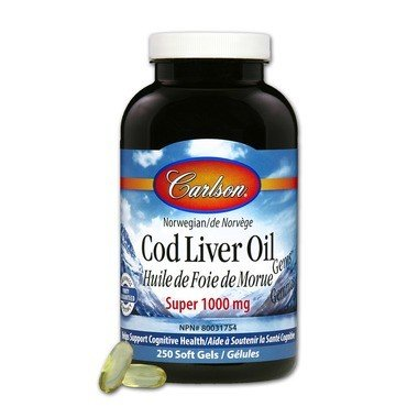 Carlson Cod Liver Oil Super 1000mg 250 Softgels