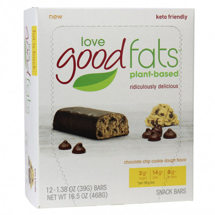 Love Good Fats Chocolate Chip Cookie Dough Keto Bars 12 Bars (Expiry 16 Oct, 2020)