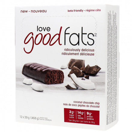 Love Good Fats Coconut Chocolate Chip Keto Bars 12 Bars (Expiry 26 Oct, 2020)