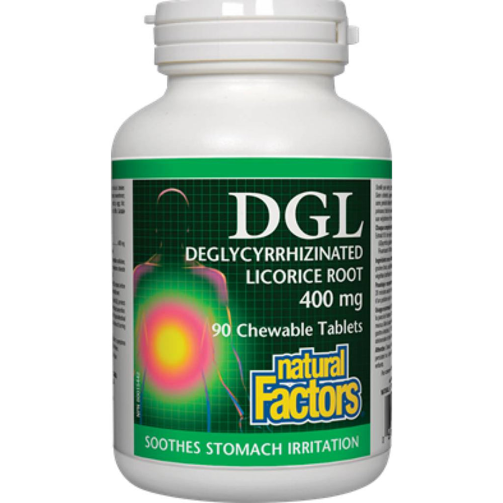 Natural Factors DGL Deglycyrrhizinated Licorice Root 400mg 90 Chewable Tablets