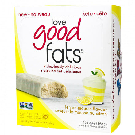 Love Good Fats Lemon Mousse Keto Bars 12 Bars (Expiry 22 Oct, 2020)