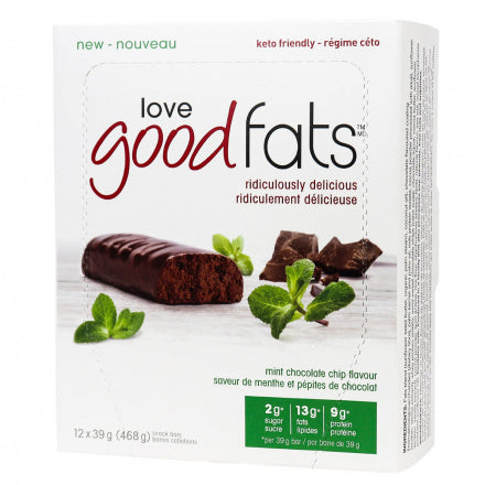 Love Good Fats Mint Chocolate Chip Keto Bars 12 Bars (Expiry 2 Nov, 2020)