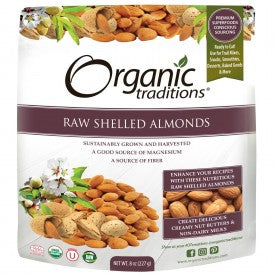 Organic Traditions Raw Shelled Almonds 227g