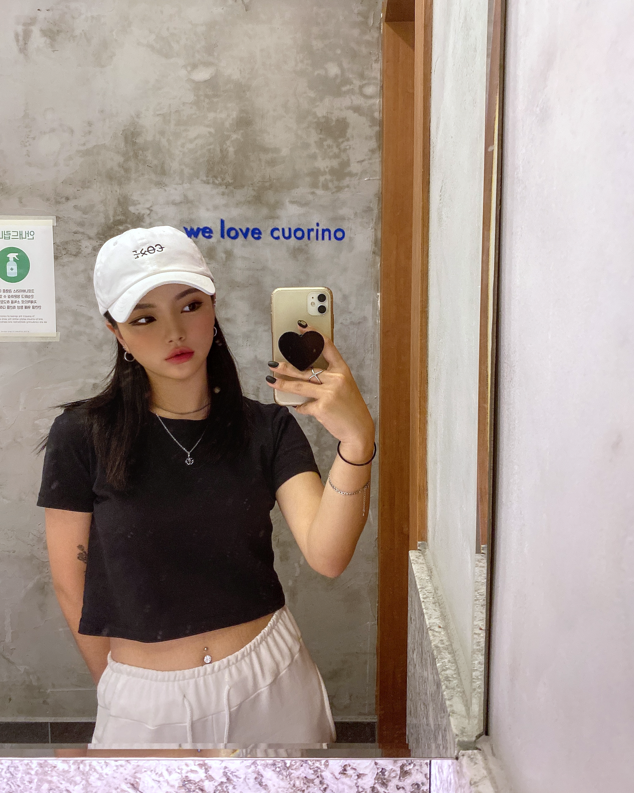 Women streetwear fashion with white dad baseball cap in Korea