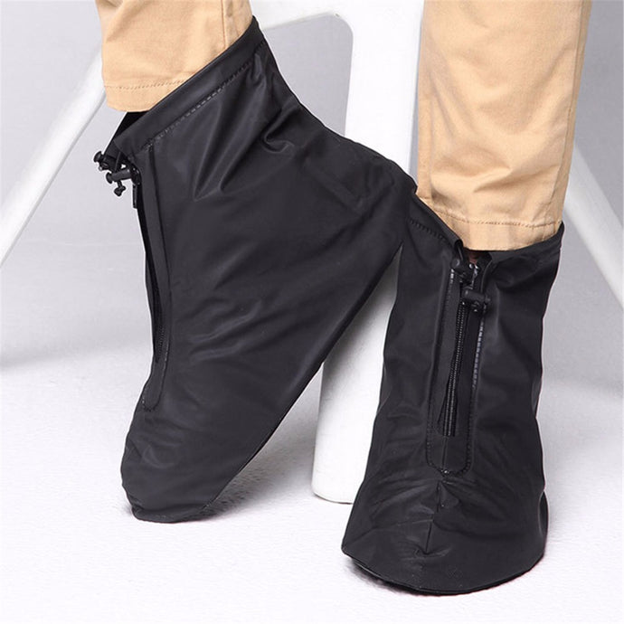 Rainproof Waterproof Reusable Rain Shoes Cover Boots Flat Overshoes Covers Men&Women's Slip Resistant Shoe Cover Black/ White