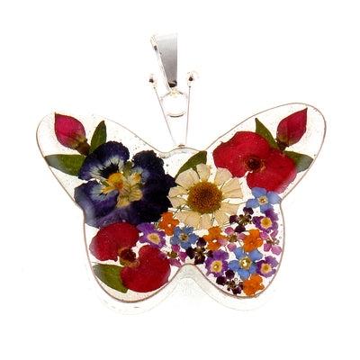 BUTTERFLY PENDANT WITH MIXED FLOWERS