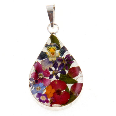 TEAR DROP PENDANT WITH MIXED FLOWERS