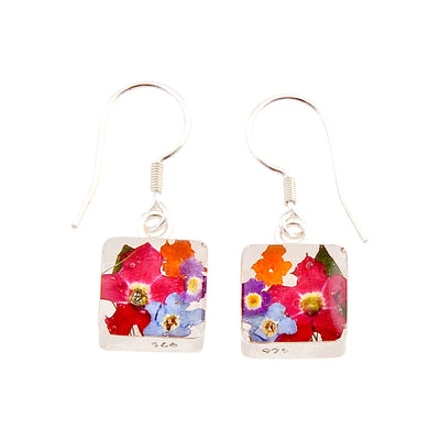 SQUARE EARRINGS WITH MIXED FLOWERS IN 925 SILVER