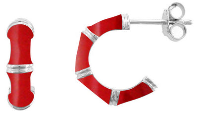 OPEN HOOP EARRINGS IN SILVER WITH RED ENAMEL