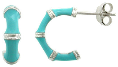OPEN HOOP EARRINGS IN 925 SILVER WITH BABY BLUE ENAMEL