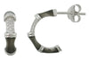 OPEN HOOP EARRINGS IN 925 SILVER WITH CZ & GREY ENAMEL