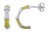 OPEN HOOP EARRINGS IN 925 SILVER WITH CZ & GOLD ENAMEL