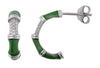 OPEN HOOP EARRINGS IN 925 SILVER WITH CZ & GREEN ENAMEL