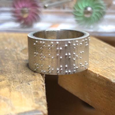 CUSTOM MADE BRAILLE RING IN 925 SILVER