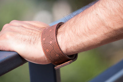MENS LEATHER WIDER BRACELET WITH CIRCLES DESIGN, TAN COLOUR