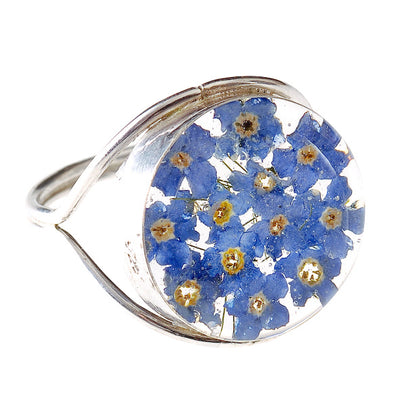 ROUND RING WITH BLUE FLOWERS IN 925 SILVER