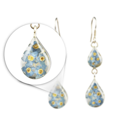 DOUBLE DROP EARRINGS WITH BLUE FLOWERS IN 925 SILVER