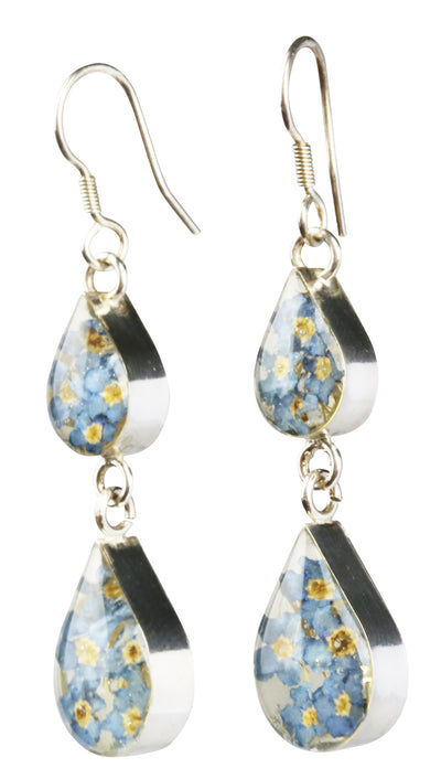 DOUBLE DROP EARRINGS WITH BLUE FLOWERS