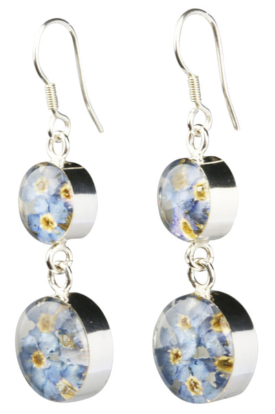 DOUBLE DROP ROUND EARRINGS WITH BLUE FLOWERS