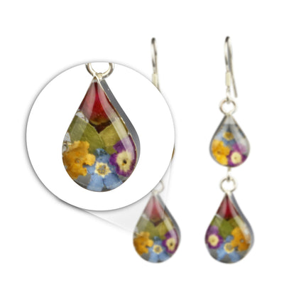 DOUBLE DROP EARRINGS WITH MIXED FLOWERS IN 925 SILVER
