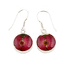 ROUND EARRINGS WITH RED FLOWERS IN 925 SILVER