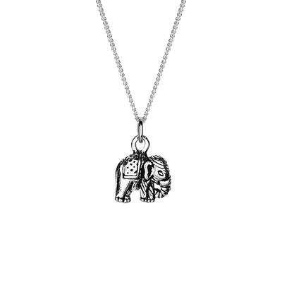 ROYAL ELEPHANT NECKLACE IN 925 SILVER WITH OXIDISE DETAILS