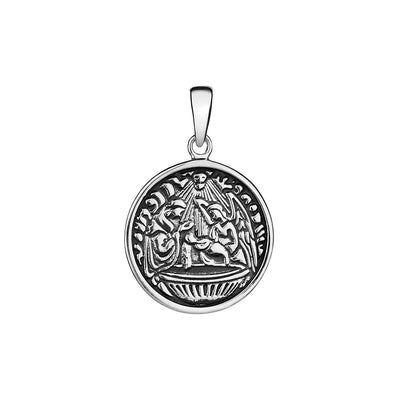 CHILDREN BAPTISM PENDANT IN 925 SILVER WITH OXIDISE DETAILS