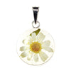ROUND PENDANT WITH WHITE FLOWERS IN 925 SILVER