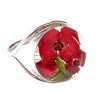ROUND RING WITH RED FLOWERS IN 925 SILVER