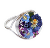 ROUND RING WITH PURPLE FLOWERS IN 925 SILVER