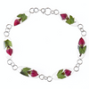 BRACELET WITH SINGLE ROSE FLOWERS IN 925 SILVER