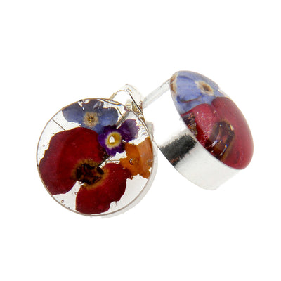 ROUND STUDS WITH MIXED FLOWERS