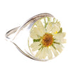 ROUND RING WITH WHITE FLOWERS IN 925 SILVER