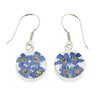 ROUND EARRINGS WITH BLUE FLOWERS IN 925 SILVER