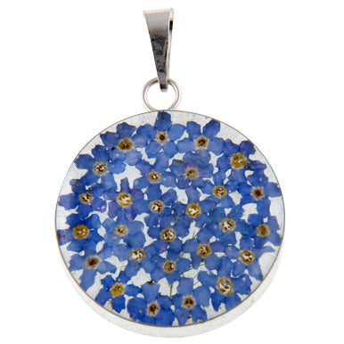 ROUND PENDANT WITH BLUE FLOWERS