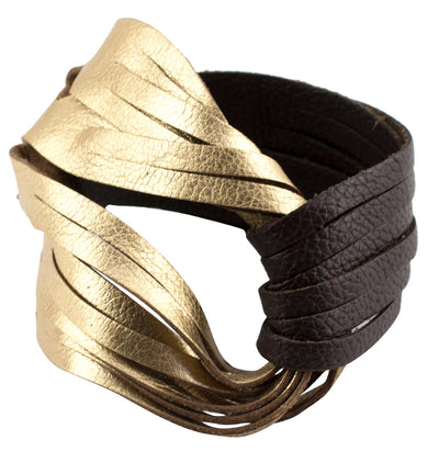 GOLD/BROWN LEATHER BRACELET