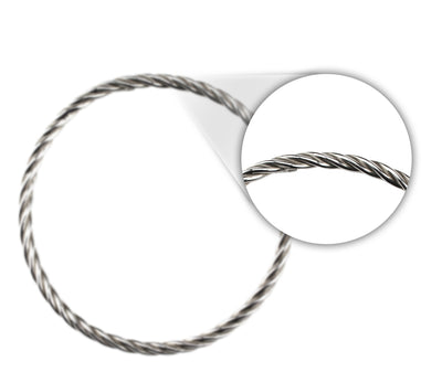 HOLLOW TWISTED WIRE BANGLE IN 925 SILVER