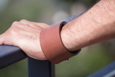 WIDER MENS LEATHER BLANK BRACELET, TAN COLOUR