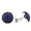 BLUE FABRIC ROUND CUFFLINKS IN 925 SILVER