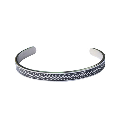 MENS STAINLESS STEEL CUFF WITH WHEAT DESIGN