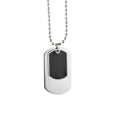 DOG TAG WITH BLACK CARBON FIBRE & 70CM STAINLESS STEEL NECKLACE