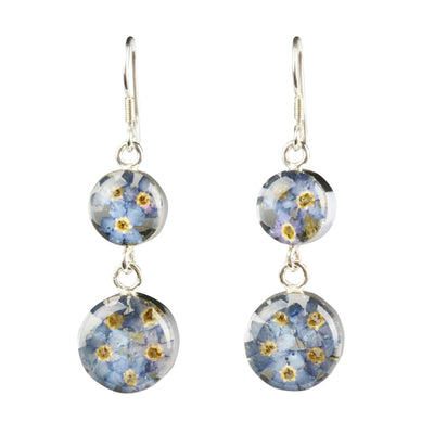 DOUBLE DROP ROUND EARRINGS WITH BLUE FLOWERS IN 925 SILVER