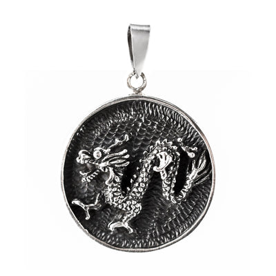 DRAGON PENDANT IN 925 SILVER WITH OXIDISE DETAILS