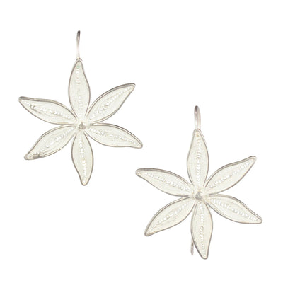 FLOWER FILIGREE EARRINGS IN 950 SILVER