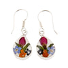 TEAR DROP EARRINGS WITH MIXED FLOWERS IN 925 SILVER